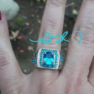 Turquoise Unisex Rhodium Plated Ring
